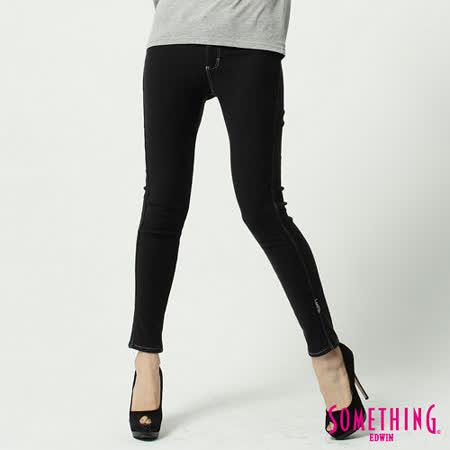 SOMETHING LADIVA窄直筒保溫色褲-女-黑色