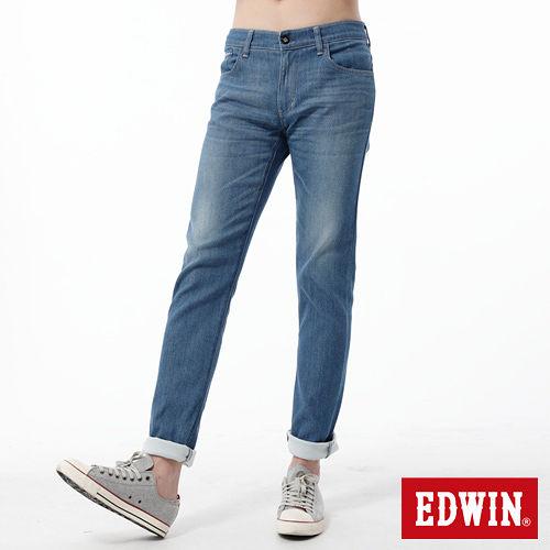 EDWIN 窄直筒 EDGE COOL繡邊牛仔褲-男-石洗藍