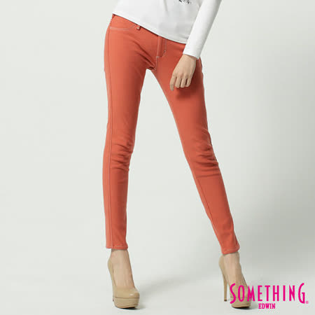 SOMETHING LADIVA保溫窄直筒色褲-女-桔色