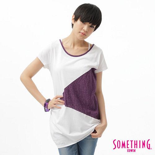 SOMETHING T恤 燒花剪接圓領長版T恤~女~葡紫