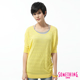 SOMETHING 簡約暗條紋線衫-女-亮黃色