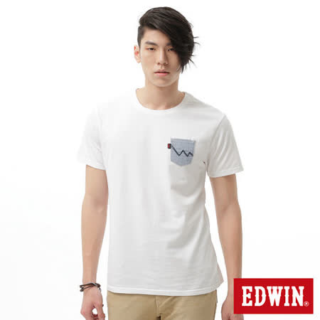EDWIN 牛津配布口袋T恤-男-白色