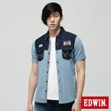 EDWIN 雙色剪接牛仔襯衫-男-重漂藍
