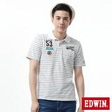 EDWIN 隱約條紋繡花短袖POLO衫-男-深咖啡