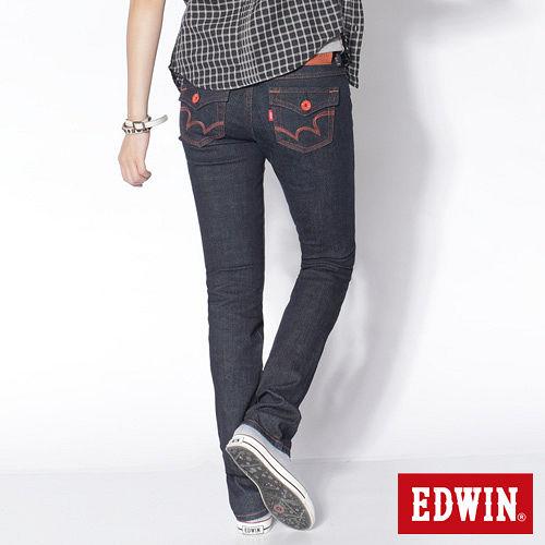 EDWIN MISS EDGE袋蓋小直筒牛仔褲~女~原藍色
