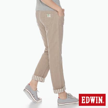 EDWIN MISS EDWIN中直筒休閒褲-女-淺卡其