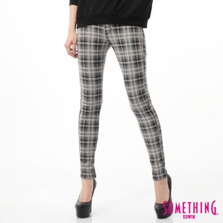 SOMETHING LADIVA格紋合身牛仔褲-女-銀灰色