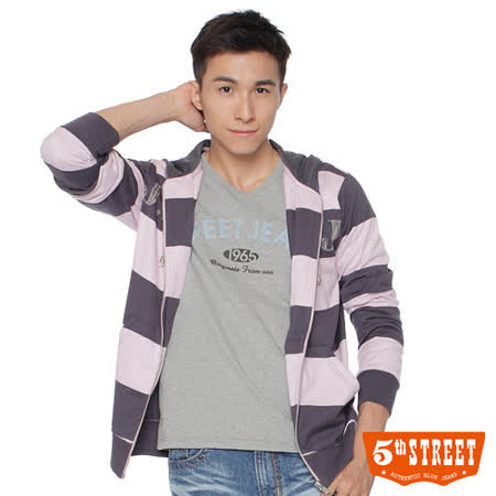 5th STREET 寬條紋連帽外套-男-紫色