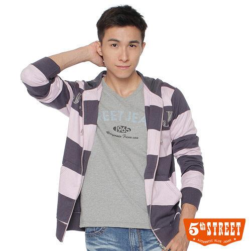 5th STREET 寬條紋連帽外套~男~紫色