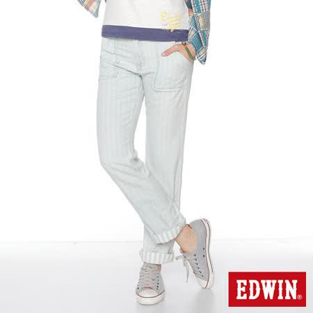 EDWIN MISS EDWIN中直筒休閒褲-女-重漂藍