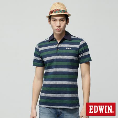 EDWIN 復古印條POLO衫-男-綠色