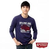 5th STREET 復古車印圖長袖T恤-男-暗紫色