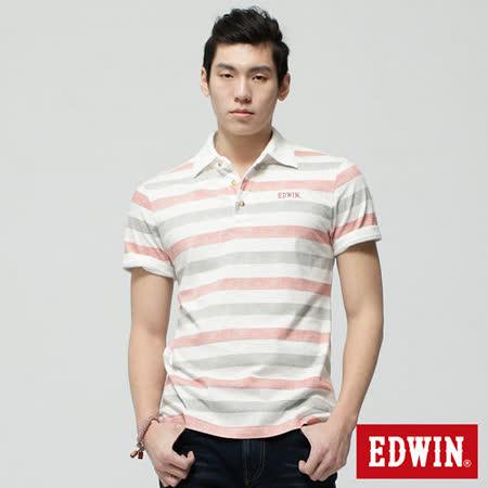 EDWIN 復古印條POLO衫-男-米白色