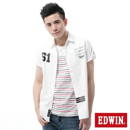 EDWIN 隱形鈕扣短袖襯衫-男-白色