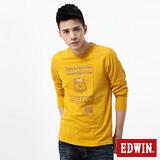EDWIN 斑駁印繡圓領T恤-男-土黃色