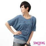 SOMETHING 暗條紋2件式短袖T恤-女-重漂藍