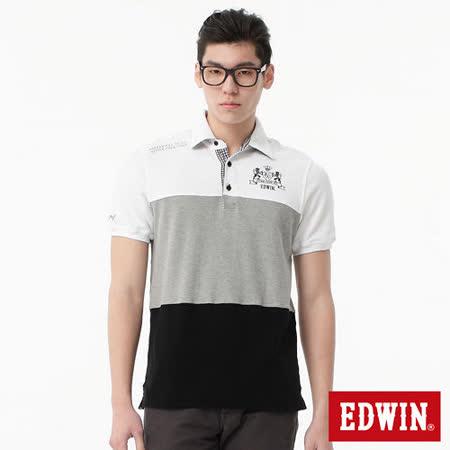 EDWIN 剪接三色都會POLO衫-男-黑色