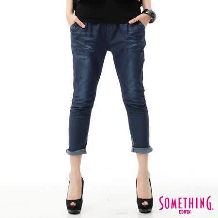 SOMETHING LADIVA TAPERED小泡牛仔褲-女-原藍磨