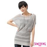 SOMETHING 甜美圓領長版線衫-女-麻灰色