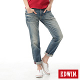 EDWIN MISS503袋蓋中直筒褲-女-拔淺藍