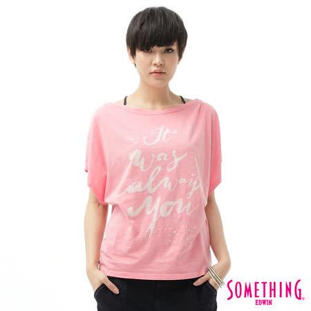 SOMETHING 隨性文字寬版T恤-女-淡粉色