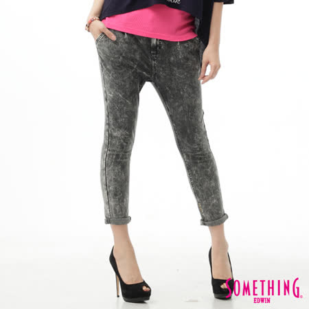 SOMETHING LADIVA TAPERED小泡牛仔褲-女-麻灰色