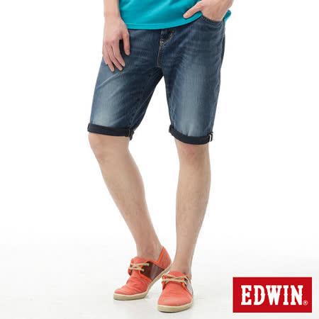 EDWIN 迦績褲JERSEYS紅布邊牛仔短褲-男-石洗綠