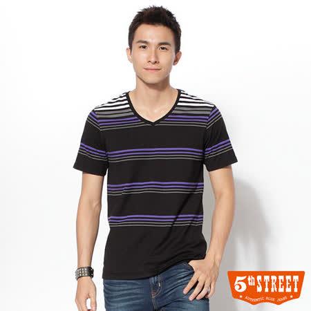 5thSTREET V領橫條T恤-男-黑色