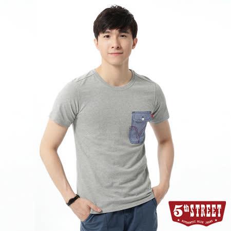 5th STREET 粗線調袋花T恤-男-麻灰色