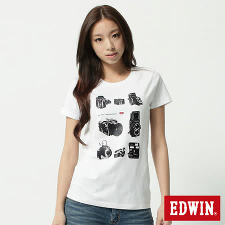 EDWIN 典藏復古相機短袖T恤-女-白色
