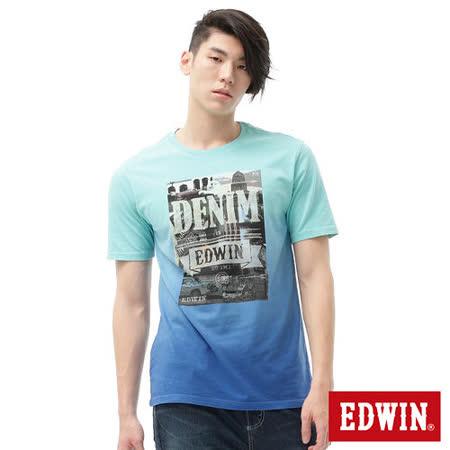 EDWIN 街景LOGO後染短袖T恤-男-嫩綠