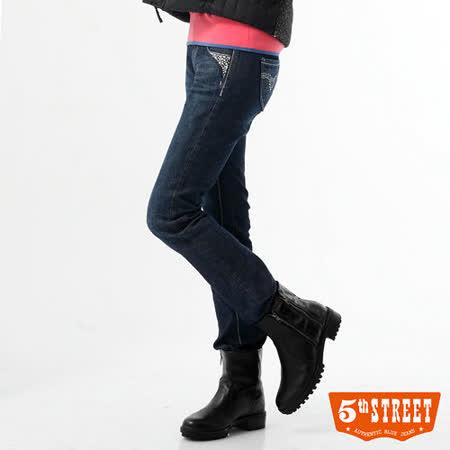 5th STREET 寬腰頭燙鑽靴型牛仔褲-女-酵洗藍
