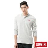 EDWIN 基本繡花長袖POLO衫-男-淺灰色