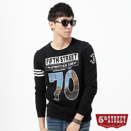 5th STREET T恤 70數字印花配色長袖T恤-男-黑色