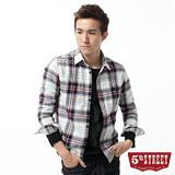 5th STREET 襯衫 基本雙袋格紋長袖襯衫-男-丈青