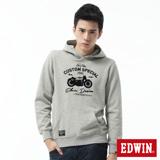 EDWIN 摩托車植絨連帽T恤-男-麻灰色