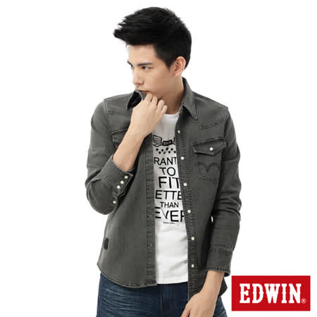EDWIN 經典雙袋牛仔襯衫-男-黑色