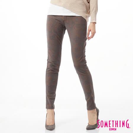 SOMETHING LADIVA植絨合身牛仔褲-女-灰褐色