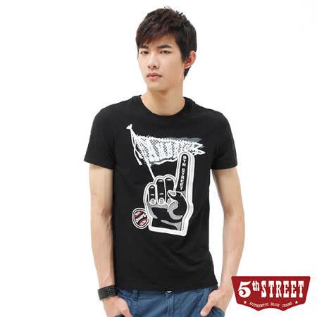 5th STREET 手指印花T恤-男-黑色