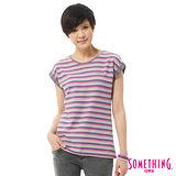 SOMETHING 網路限定 袖反折條紋T恤-女-桃紅