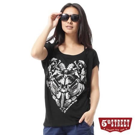 5th STREET 骷髏植絨印花短袖T恤-女-黑色 M