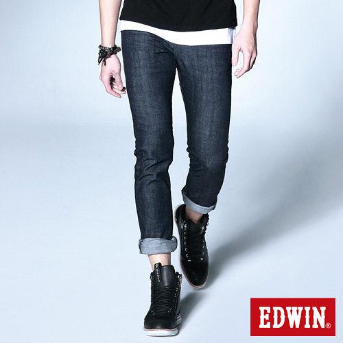 EDWIN 窄直筒EDGE假袋蓋牛仔褲-男-原藍色