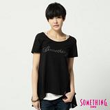 SOMETHING 浪漫剪接長版T恤-女-黑色