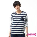 SOMETHING 休閒拼接寬條紋T恤-女-中古藍