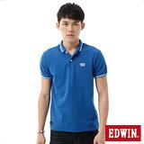 EDWIN 簡潔都會短袖POLO衫-男-藍色