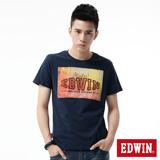 EDWIN 街景貼布短袖T恤-男-黑藍