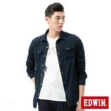 EDWIN 成品染格紋剪接襯衫-男-黑藍色