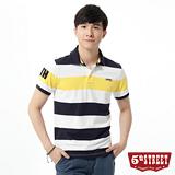 5th STREET 條紋配色短袖POLO衫-男-亮黃色