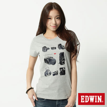 EDWIN 典藏復古相機短袖T恤-女-麻灰