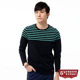 5th STREET 剪接條紋長袖T恤-男-綠色
